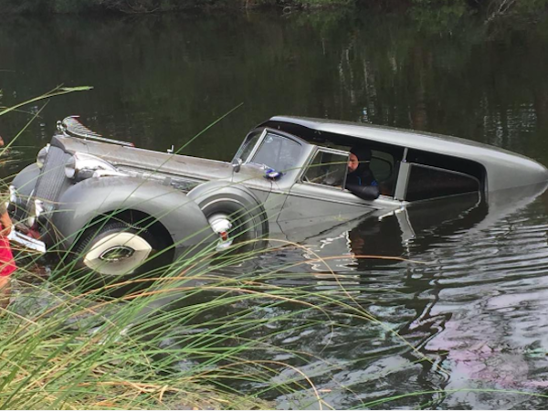 1938 Packard in pond